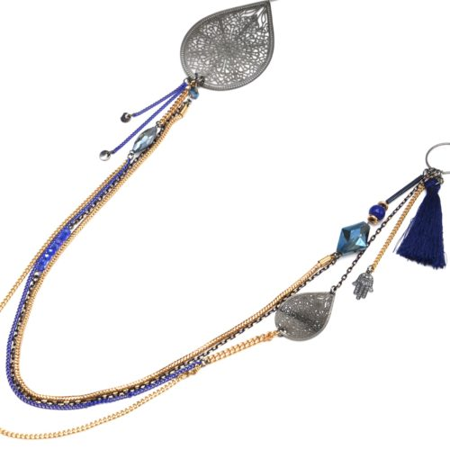 Sautoir-Collier-Multi-Chaines-Metal-Dore-avec-Perles-Pompon-Bleu-et-Gouttes-Ajourees