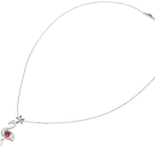 Sautoir-Collier-Pendentif-Flamant-Rose-avec-Pierre-Rose-et-Strass-Zirconium-Argente