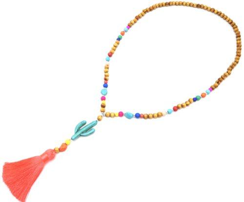 Sautoir-Collier-Perles-Bois-et-Effet-Marbre-avec-Pierre-Cactus-Turquoise-et-Pompon-Fils-Fluo