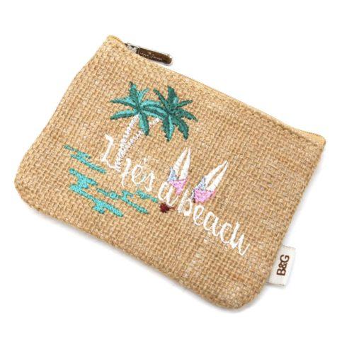 Lot-de-3-Pochettes-Trousses-Toile-de-Jute-avec-Message-Lifes-a-Beach