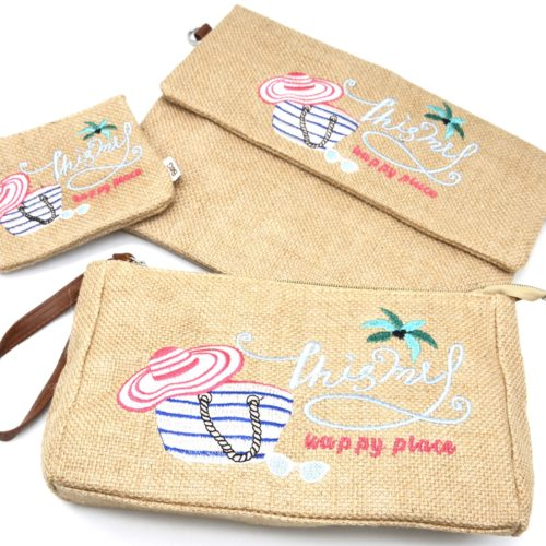 Lot-de-3-Pochettes-Trousse-Toile-de-Jute-Beige-avec-Message-This-Is-My-Happy-Place