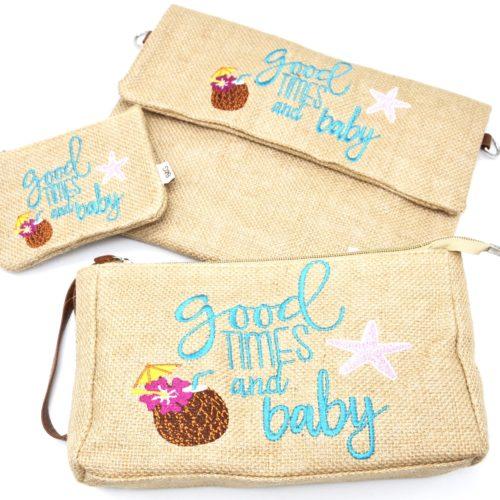 Lot-de-3-Pochettes-Trousses-Toile-de-Jute-avec-Message-Good-Times-And-Baby