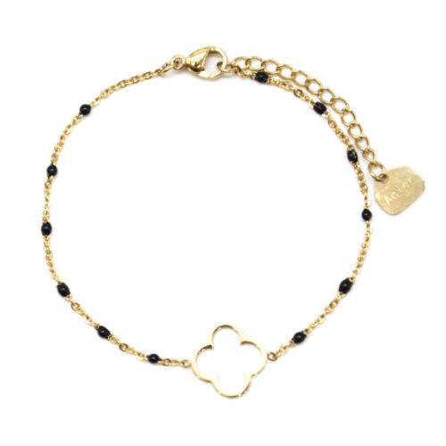 Bracelet-Fine-Chaine-Mini-Perles-Email-Noir-avec-Trefle-Acier-Dore