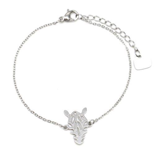 Bracelet-Fine-Chaine-avec-Charm-Zebre-Rayures-Acier-Argente