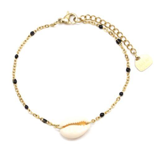 Bracelet-Fine-Chaine-Acier-Dore-Mini-Perles-Email-Noir-avec-Coquillage