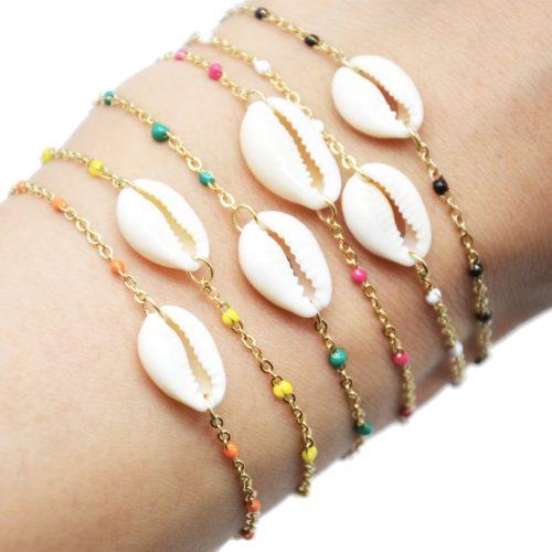 Bracelet-Fine-Chaine-Acier-Dore-Mini-Perles-Email-avec-Coquillage