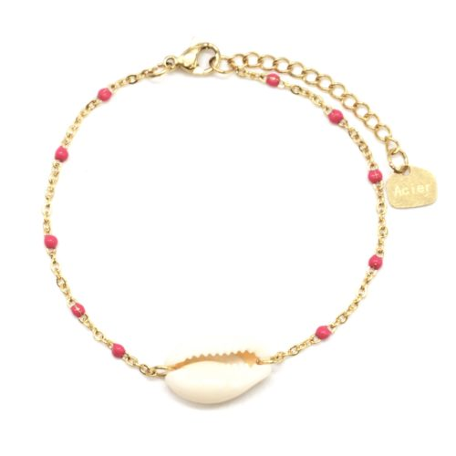 Bracelet-Fine-Chaine-Acier-Dore-Mini-Perles-Email-Fuchsia-avec-Coquillage