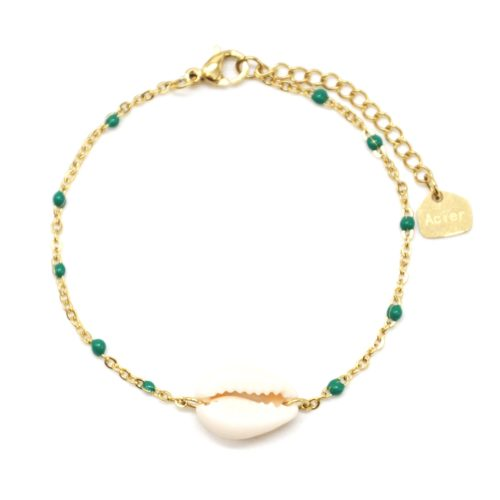 Bracelet-Fine-Chaine-Acier-Dore-Mini-Perles-Email-Vert-avec-Coquillage