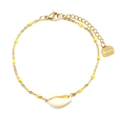 Bracelet-Fine-Chaine-Acier-Dore-Mini-Perles-Email-Jaune-avec-Coquillage