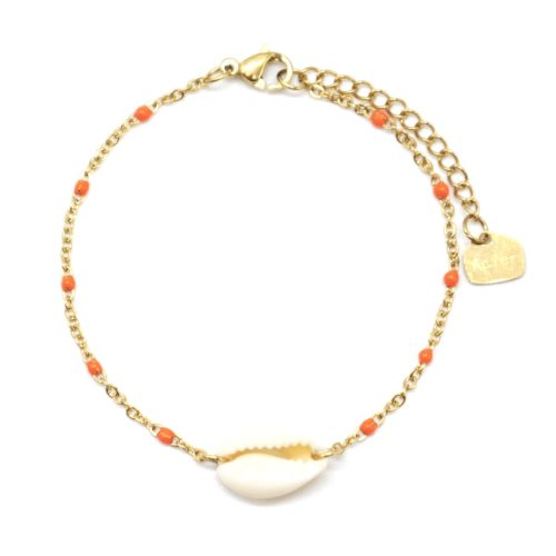 Bracelet-Fine-Chaine-Acier-Dore-Mini-Perles-Email-Orange-avec-Coquillage