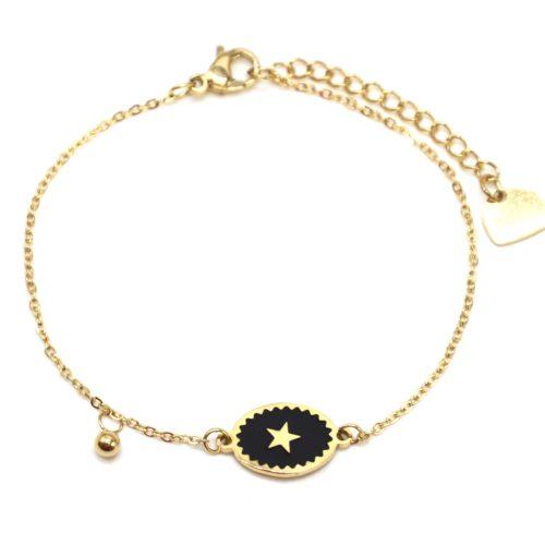 Bracelet-Fine-Chaine-Acier-Dore-avec-Ovale-Email-Noir-Motif-Etoile