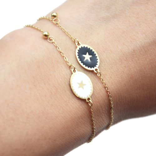 Bracelet-Fine-Chaine-Acier-Dore-avec-Ovale-Email-Motif-Etoile