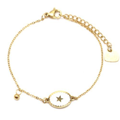Bracelet-Fine-Chaine-Acier-Dore-avec-Ovale-Email-Blanc-Motif-Etoile
