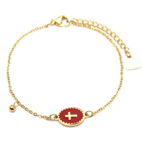 Bracelet-Fine-Chaine-Acier-Dore-avec-Ovale-Email-Rouge-Motif-Croix
