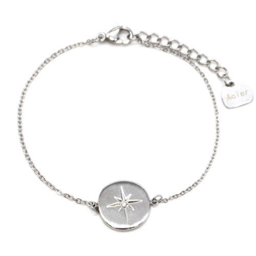 Bracelet-Fine-Chaine-avec-Charm-Cercle-Etoile-Polaire-Acier-Argente