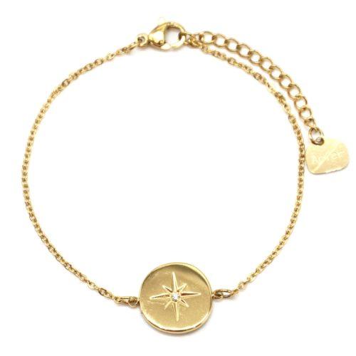 Bracelet-Fine-Chaine-avec-Charm-Cercle-Etoile-Polaire-Acier-Dore