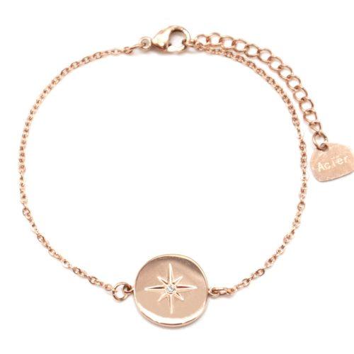 Bracelet-Fine-Chaine-avec-Charm-Cercle-Etoile-Polaire-Acier-Or-Rose