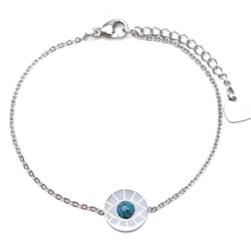 Bracelet-Fine-Chaine-Acier-Argente-avec-Charm-Cercle-Oeil-Pierre-Turquoise