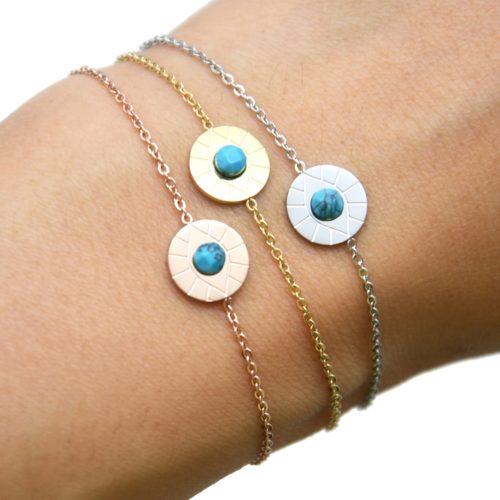 Bracelet-Fine-Chaine-Acier-avec-Charm-Cercle-Oeil-Pierre-Turquoise
