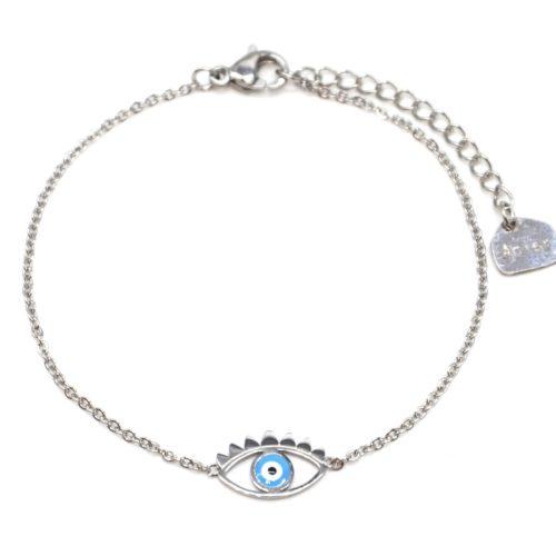 Bracelet-Fine-Chaine-Acier-Argente-avec-Charm-Oeil-Bleu