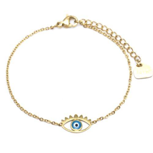Bracelet-Fine-Chaine-Acier-Dore-avec-Charm-Oeil-Bleu