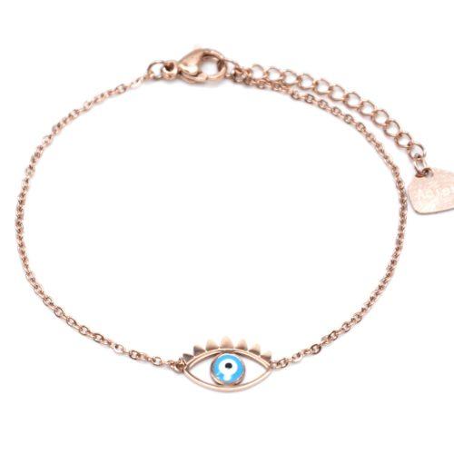 Bracelet-Fine-Chaine-Acier-Or-Rose-avec-Charm-Oeil-Bleu