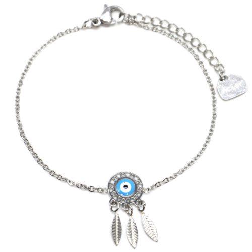 Bracelet-Fine-Chaine-Acier-Argente-avec-Charm-Attrape-Reves-Oeil-Bleu