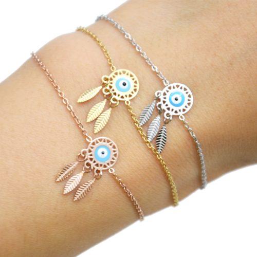 Bracelet-Fine-Chaine-Acier-avec-Charm-Attrape-Reves-Oeil-Bleu