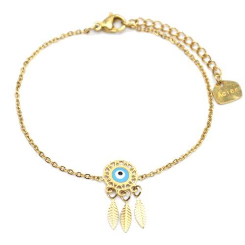 Bracelet-Fine-Chaine-Acier-Dore-avec-Charm-Attrape-Reves-Oeil-Bleu