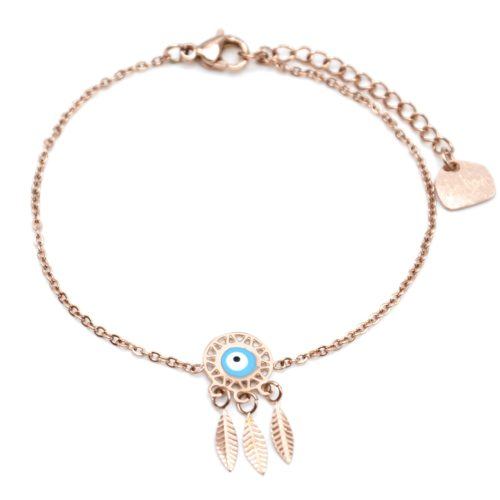 Bracelet-Fine-Chaine-Acier-Or-Rose-avec-Charm-Attrape-Reves-Oeil-Bleu