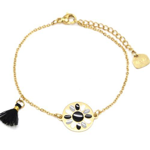 Bracelet-Fine-Chaine-Acier-Dore-avec-Cercle-Fleur-Email-et-Pompon-Noir