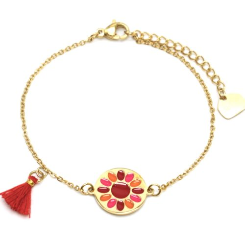 Bracelet-Fine-Chaine-Acier-Dore-avec-Cercle-Fleur-Email-et-Pompon-Rouge