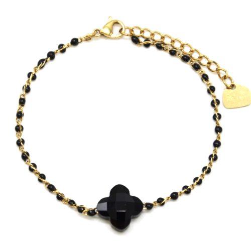 Bracelet-Fine-Chaine-Acier-Dore-Perles-Email-Noir-avec-Pierre-Trefle