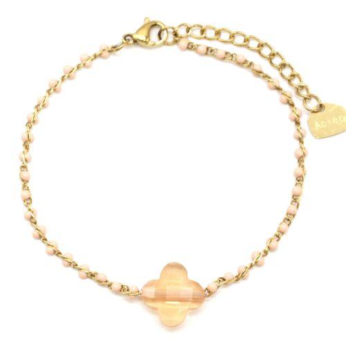 Bracelet-Fine-Chaine-Acier-Dore-Perles-Email-Champagne-avec-Pierre-Trefle