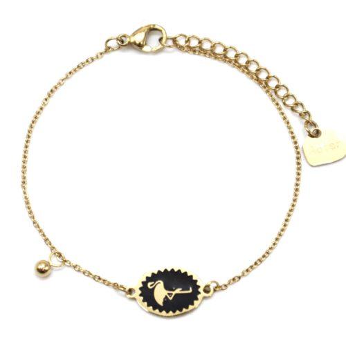 Bracelet-Fine-Chaine-Acier-Dore-avec-Cercle-Email-Noir-Motif-Flamant-Rose