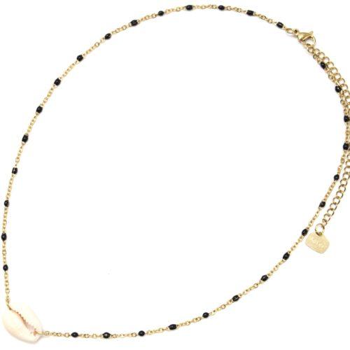 Collier-Fine-Chaine-Acier-Dore-Mini-Perles-Email-Noir-et-Pendentif-Coquillage