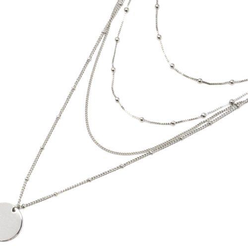 Collier-Multi-Rangs-Chaines-Metal-Argente-avec-Boules-et-Medaille
