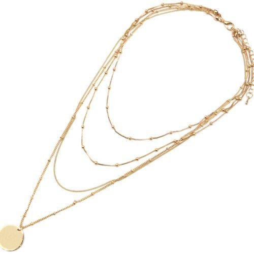Collier-Multi-Rangs-Chaines-Metal-Dore-avec-Boules-et-Medaille