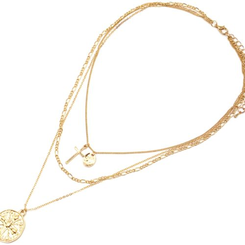 Collier-Multi-Rangs-Chaines-Metal-Dore-avec-Medaille-Martelee-Croix
