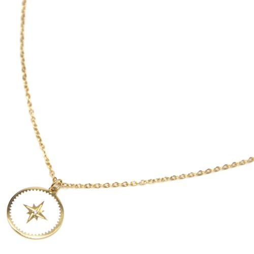 Collier-Fine-Chaine-Acier-Dore-avec-Cercle-Email-Blanc-Motif-Etoile-Polaire