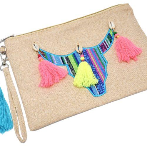 Pochette-Sac-Moyen-Tissu-Beige-avec-Motif-Tete-Buffle-et-Pompons-Multicolore-Fluo
