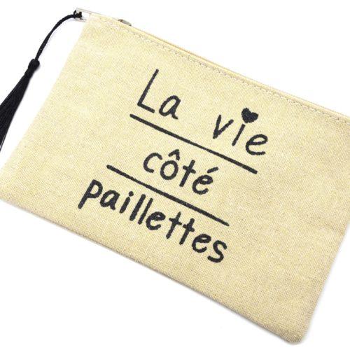 Trousse-Maquillage-Pochette-Tissu-Beige-Message-La-Vie-Cote-Paillettes-et-Pompon-Noir