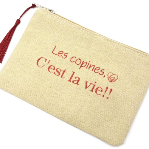 Trousse-Maquillage-Pochette-Tissu-Beige-Message-Les-Copines-Cest-La-Vie-et-Pompon-Bordeaux