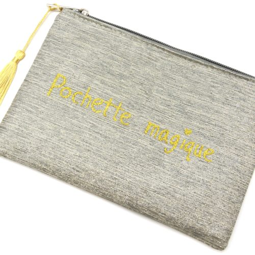 Trousse-Maquillage-Pochette-Tissu-Argente-Message-Pochette-Magique-et-Pompon-Dore