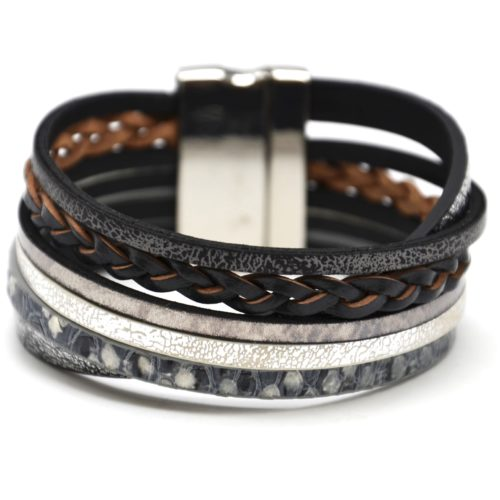 Bracelet-Manchette-Multi-Rangs-Croises-Simili-Cuir-Satine-avec-Tresse-Noir
