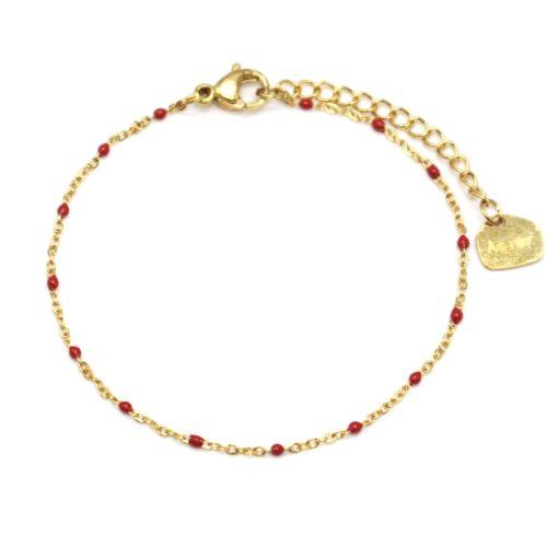 Bracelet-Fine-Chaine-Acier-Dore-et-Mini-Perles-Email-Rouge