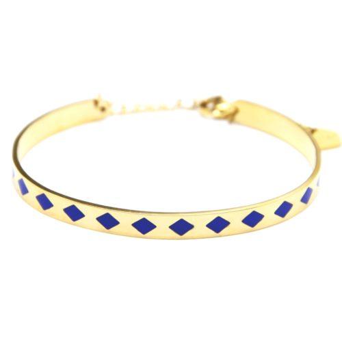 Bracelet-Jonc-et-Chaine-Acier-Dore-avec-Motif-Losanges-Bleu
