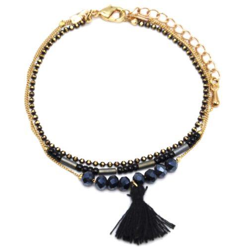 Bracelet-Multi-Rangs-Chaine-Metal-Dore-avec-Perles-et-Pompon-Noir