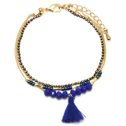 Bracelet-Multi-Rangs-Chaine-Metal-Dore-avec-Perles-et-Pompon-Bleu-Roi