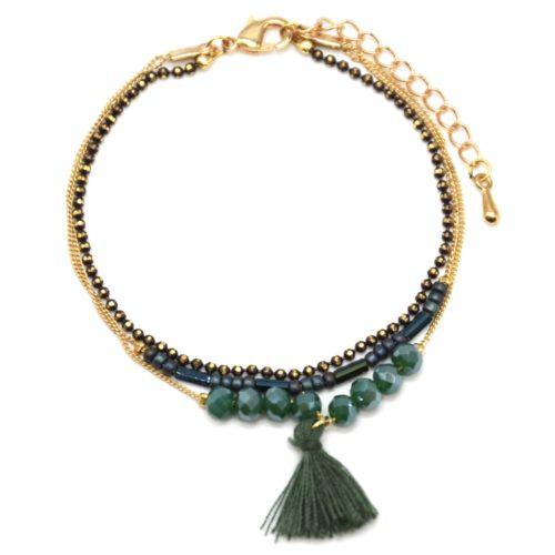 Bracelet-Multi-Rangs-Chaine-Metal-Dore-avec-Perles-et-Pompon-Vert
